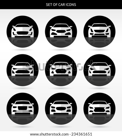 Set of car icons. Vector illustration - stock vector