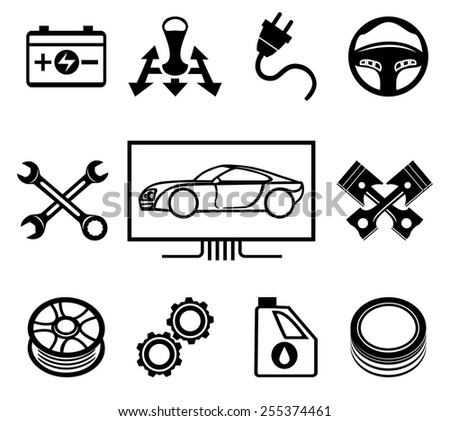 Set of car maintenance or service icons. Inspection and oil, wheel and tire change. Vector illustration