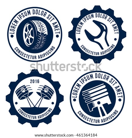 Set Car Related Signs Logos Icons Stock Vector 461364184 Shutterstock