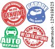 Set of car service grunge rubber stamps on white, vector illustration - stock vector