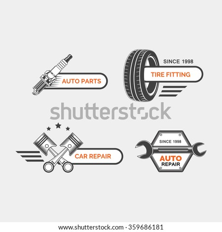 Set of car service labels, emblems and design elements - stock vector
