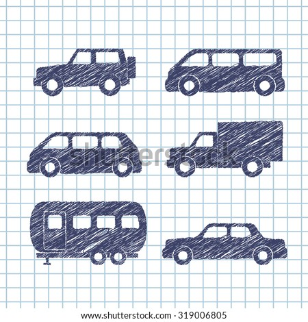 Set of car silhouettes isolated on copybook paper. Vector illustration - stock vector