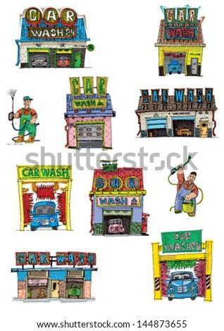 set of car washes - cartoon - stock vector