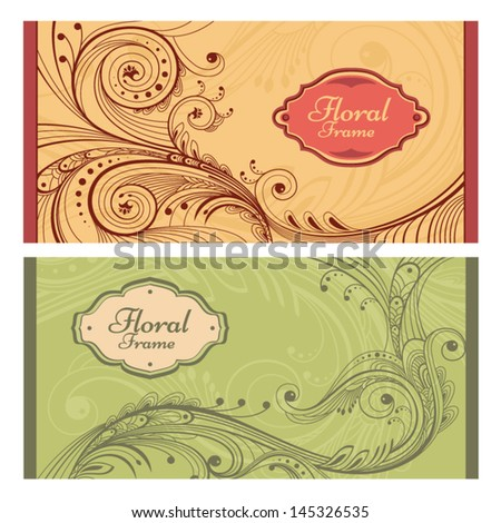Set of card in retro style. Great for invitations and greeting cards. - stock vector
