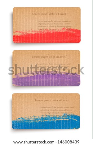Set of cardboard banners decorated with paint. Vector.