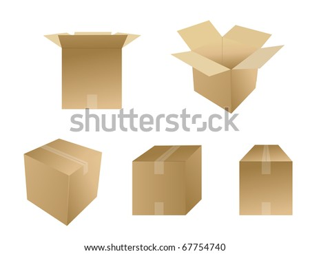 Set of cardboard boxes isolated over white. Vector file available. - stock vector