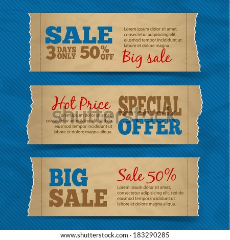 Set of cardboard paper sale hot price special offer banners with blue background vector illustration - stock vector