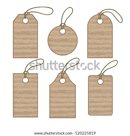 Set of cardboard tags. Sale promotion and gift card in different shapes. Vector illustration
