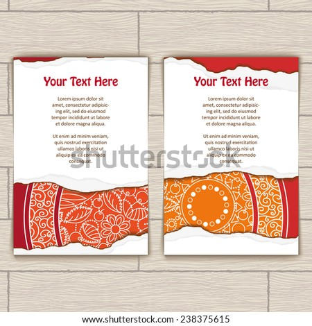 Set of cards decorated with red and gold mandala and torn paper - stock vector