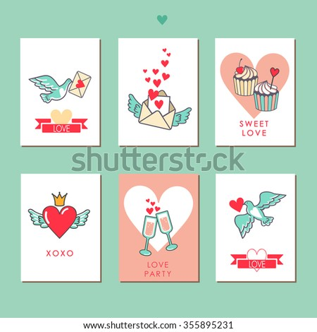 Set of cards for your design. Love. Cards for the holiday. Valentine's Day. Vector illustration. Very cute and loving. From Russia with love! Heart, wings, dove, crown, glasses, party, cupcakes, etc - stock vector