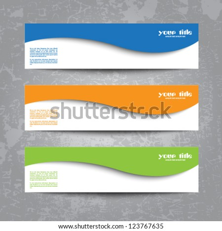 set of cards on scratchy background - stock vector