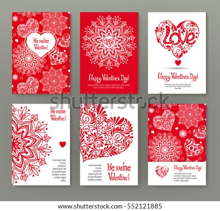 Set of 6 cards or banners for Valentine's Day with ornate red love hearts and beautiful design elements and inscriptions. Stock vector.