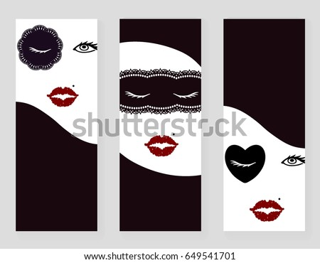 set 3 cards flyers place textfashion stock vector 649541701