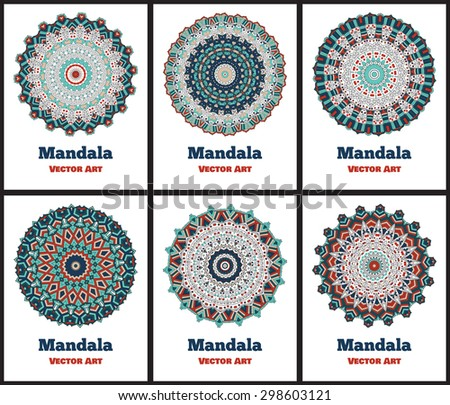 Set of 6 cards or invitations with mandala. Hand-drawn  highly detailed round elements. Vector vintage decorative elements. Islam, Arabic, Indian, Turkish, Ottoman, Pakistan motifs. - stock vector
