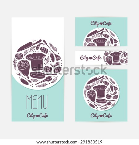 Set of cards templates with doodle food. Cafe branding. Template menu, business card, banner, flyer, poster in vector. Illustration with place for text - stock vector