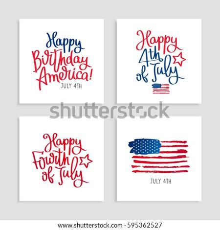 Set Cards Birthday America 4th July Stock Vector 595362527