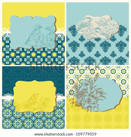 Set of Cards - Vintage Tiles and Birds - for design and scrapbook in vector - stock vector