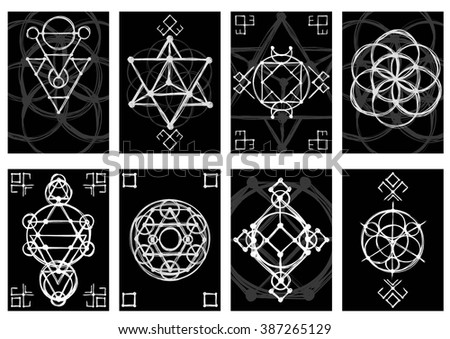 Set of cards with abstract hand sketched sacred geometry drawings. Tribal style. Vector illustration. - stock vector