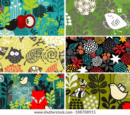Set of cards with birds and flowers. Vector illustration.  - stock vector