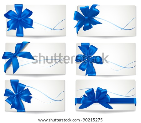 Set of cards with blue gift bows with ribbons. Vector. - stock vector