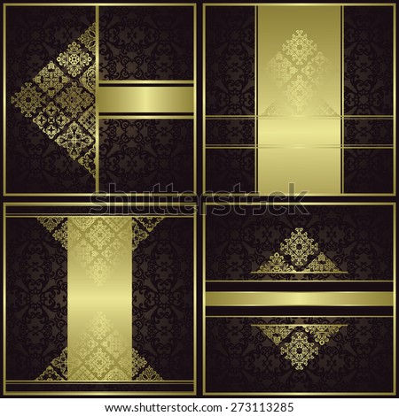 Set of cards with decorative elements. Vintage borders. Place for text. Original style     - stock vector
