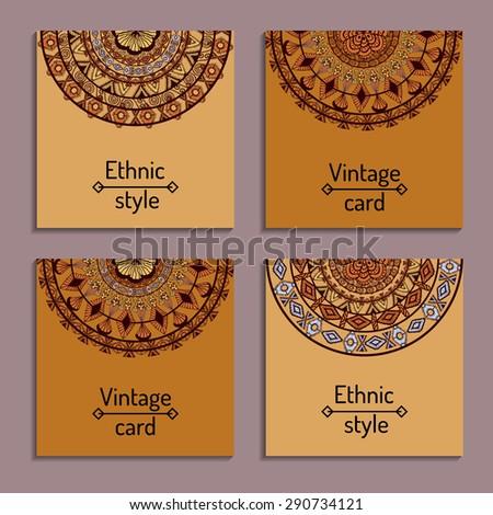 Set cards ethnic design templates invitation stock vector 290734121 set of cards with ethnic design templates for invitation scrapbook or wedding card stopboris Image collections