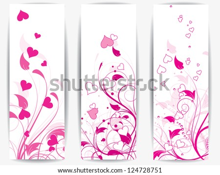 Set of cards with floral background and hearts - stock vector