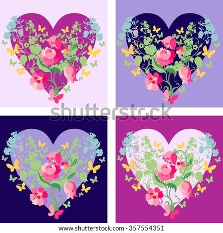 Set of cards with floral hearts for Valentines Day. Vector illustration.