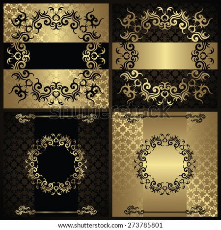 Set of cards with frames and borders. All cards have seamless background       - stock vector
