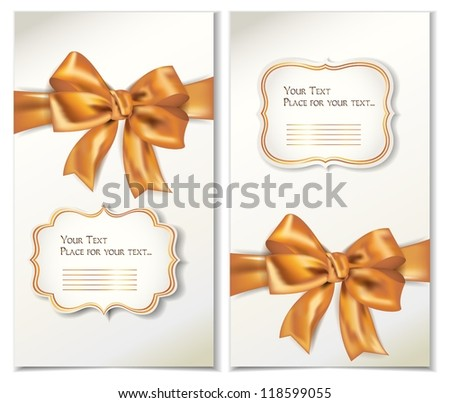 Set of cards with gold bows and ribbons - stock vector