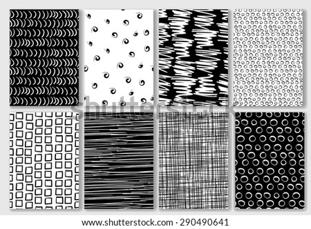 Set of Cards with Hand Drawn Textures. Seamless Pattern Set of Cards for Wedding, Bridal, Valentine's day or Birthday Invitations. Business Cards, Flyers, Banners, Placards and Posters Design. - stock vector
