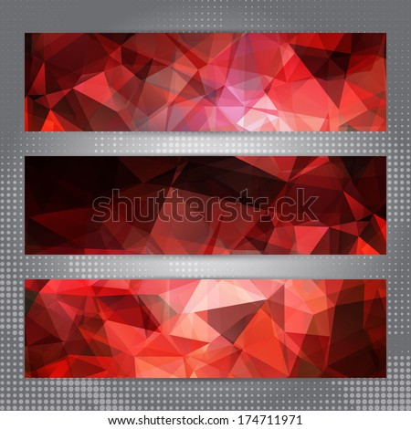 Set of cards with shining red abstract geometric polygonal pattern - stock vector