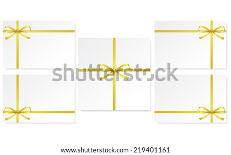 set of cards with single gift bow of gold color, cross ribbon on white, vector - stock vector