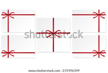 set of cards with single gift bow of red color, cross ribbon on white, vector