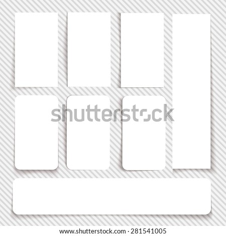 Set of cards with transparent shadow on a seamless background. Vector illustration