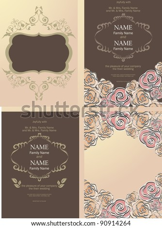 Set of cards with vector stylized rose