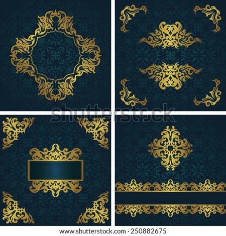 Set of cards with vintage decoration. Floral frames and decorative elements. All cards have seamless background. Original style                          - stock vector