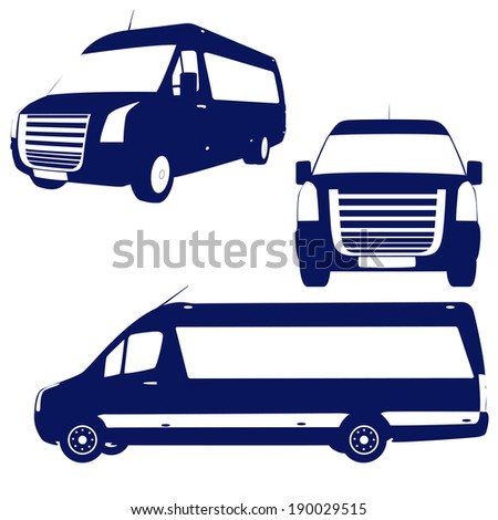 Set of cargo cars silhouettes - stock vector
