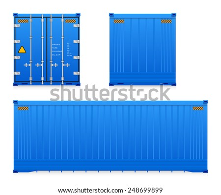 Set of cargo container isolated on white background. - stock vector