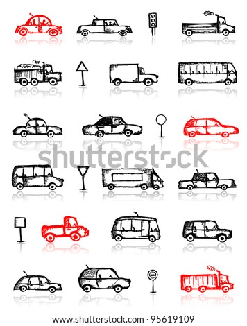 Set of cars sketch and traffic signs for your design - stock vector