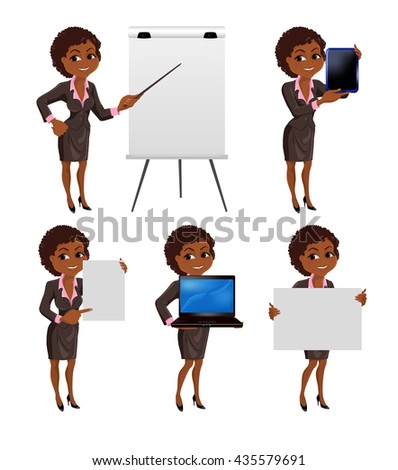 Set of cartoon  African  business woman  standing in different presentation poses: with flip chart, laptop, tablet, presentation board and paper. Vector illustration isolated on white background. - stock vector
