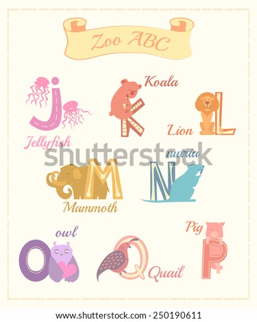 Set of cartoon alphabet characters with animals v.3 - stock vector