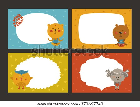 Set of cartoon animal borders, zoo frame with cat, bear, owl and merinos. Cute baby animals in love, kids frame, template for baby photo - stock vector