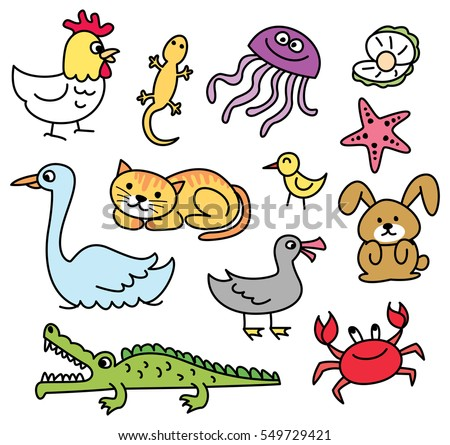 Set of cartoon animal doodle