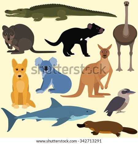 Set of cartoon australian animals. Vector illustration of red kangaroo, crocodile, kookaburra, platypus, dingo, white shark, koala, quokka, tasmanian devil, emu.  - stock vector