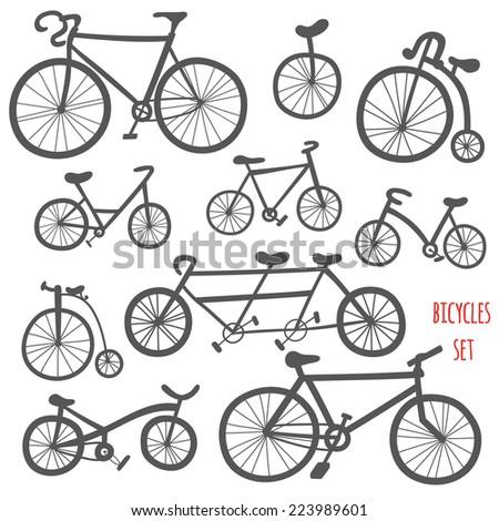 Set of cartoon bicycles. Cute hand drawn bikes black contour - stock vector