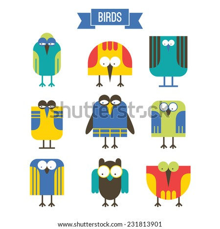 Set of cartoon bird  in flat style. Bright color - stock vector