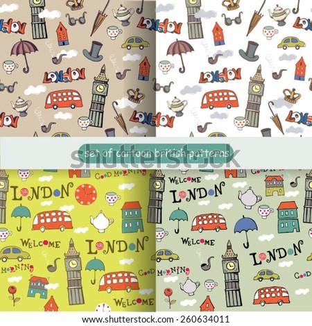 set of cartoon british patterns - stock vector