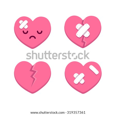 Set of cartoon broken hearts with cracks and bandages. Vector illustration. - stock vector