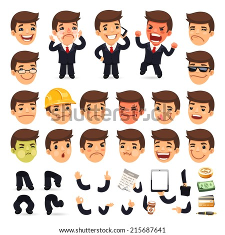 Set of Cartoon Businessman Character for Your Design or Animation. Isolated on White Background. Clipping paths included in additional jpg format. - stock vector